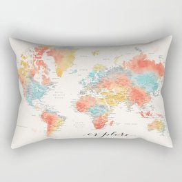 """Explore"" - Colorful watercolor world map with cities Rectangular Pillow"