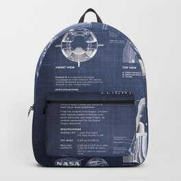 NASA SpaceX Crew Dragon Spacecraft & Falcon 9 Rocket Blueprint in High Resolution (dark blue) Backpack