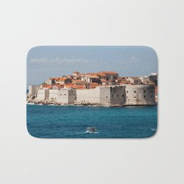 Walled Old City Of Dubrovnik On Adriatic Sea Bath Mat
