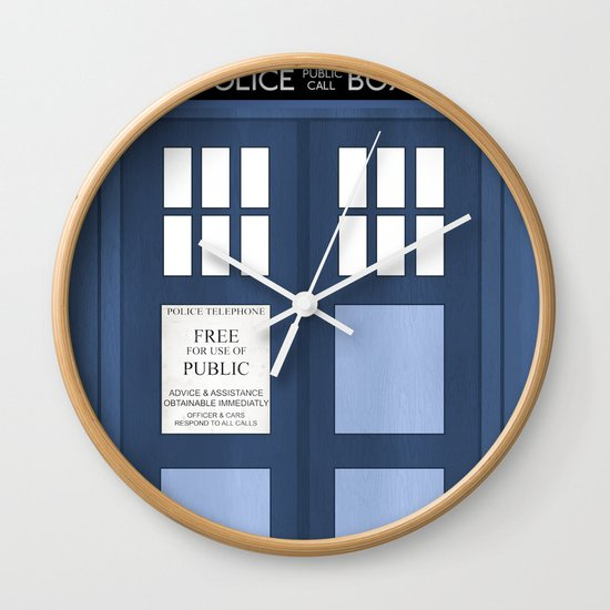 doctor who tardis wall clock by carolam society6. Black Bedroom Furniture Sets. Home Design Ideas
