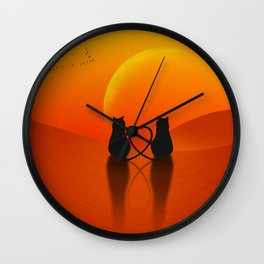 Cats in Love Wall Clock
