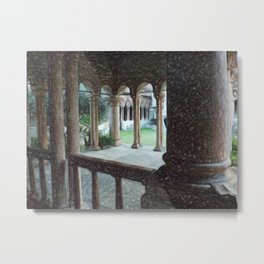Italian cloister of prayer Metal Print