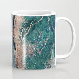 Luxury jade green teal rose gold glitter marble Coffee Mug