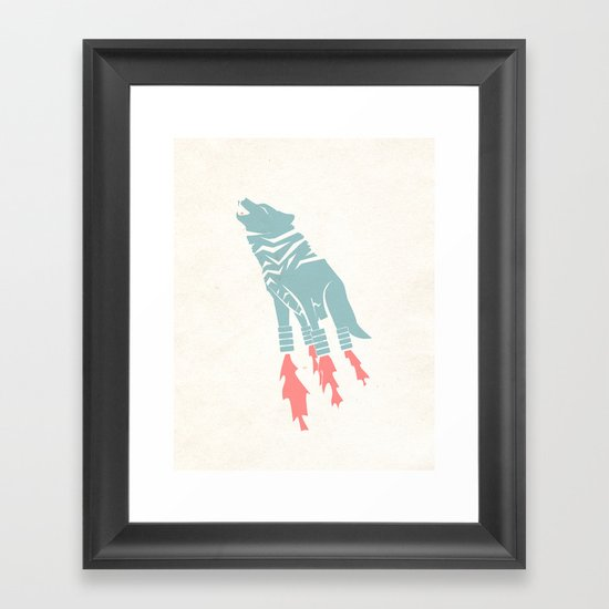Robot Wolf-Tiger from Outer Space Framed Art Print