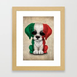 Cute Puppy Dog with flag of Italy Framed Art Print