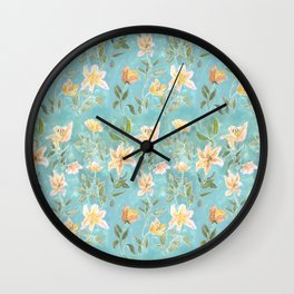 Mint Botanical Pattern Wall Clock