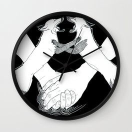 Friendship and enmity - Ink artwork Wall Clock