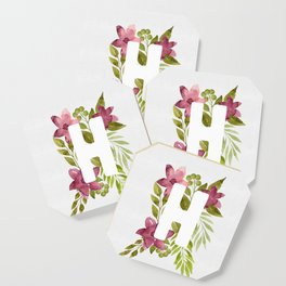Monogram H with red watercolor flowers and leaves. Floral letter H Coaster