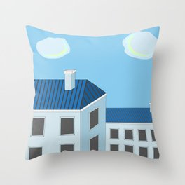 Blue roofs Throw Pillow