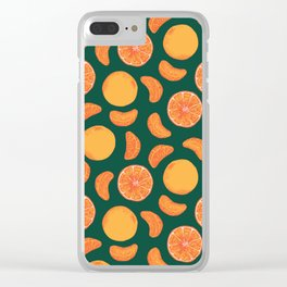 Awesome Orange Fruit Pattern Clear iPhone Case