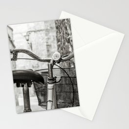 Red old bicycle in a little alley of a medieval village Stationery Cards