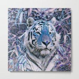 Toony Tiger blue Metal Print