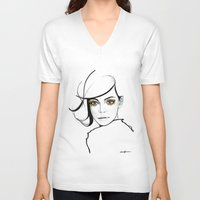 golden girls V-neck T-shirts featuring MY GIRLS . GOLDEN EYE LASHES by Camila Giacoia