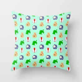 Animal Crossing Icons Throw Pillow