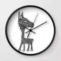 llama Wall Clocks featuring Llama by Jamie Killen