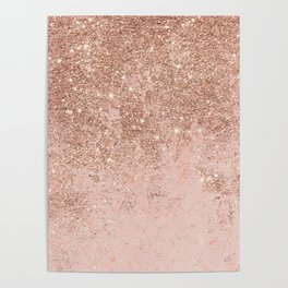 Girly blush coral faux rose gold glitter marble Poster
