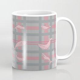 Whale Plaid #1 PINK and GREY Coffee Mug