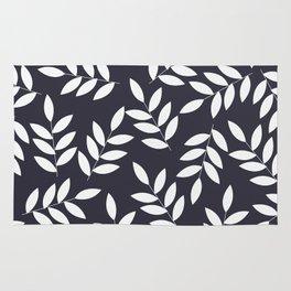 Leaves in Dark Grey Rug