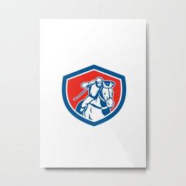 Horse Racing Jockey Shield Retro Metal Print