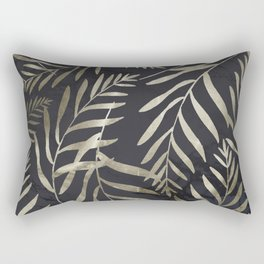 Modern Gold Leaves on Dark Marble Rectangular Pillow