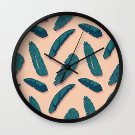 Falling Blue Leaves #society6 #decor #buyart Wall Clock