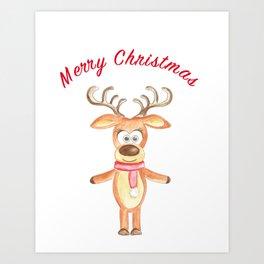 reindeer Merry Christmas, watercolor painting Art Print