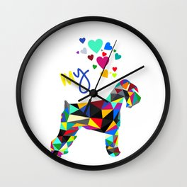 I love my schnauzer (not cropped ears) white Wall Clock