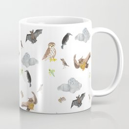 "Night Creatures ""Owl, bat and crow"" Pattern Coffee Mug"