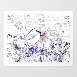 Bird and Flowers Art Print