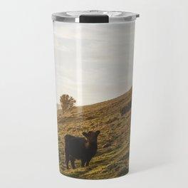 Cattle grazing on mountainside. Derbyshire, UK. Travel Mug