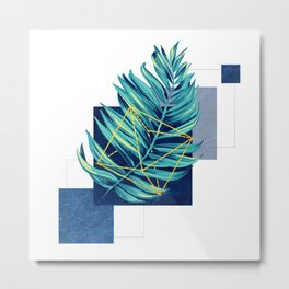 flying leaf on blue Metal Print