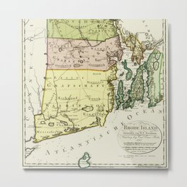 1797 Colonial Era Map of Rhode Island and Narragansett Bay Metal Print