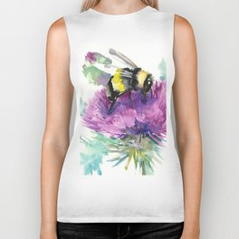 Bumblebee and Thistle Flower, honey bee floral Biker Tank