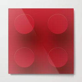 Red Building Block Metal Print
