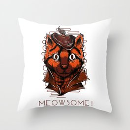 Meowsome meow cat kitty detective secret agent Throw Pillow