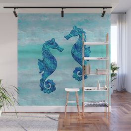 Blue Seahorse Couple Underwater Wall Mural