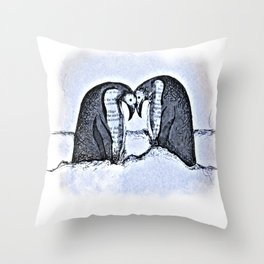 Snowy Winter Pretty Penguin Print Throw Pillow