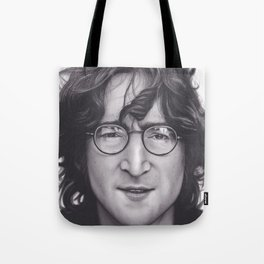 Realism Charcoal Drawing of Jo hn Len non Tote Bag