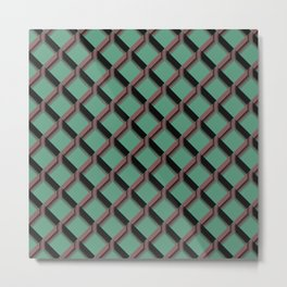 Mint Green and Pink Diamond Pattern Design Metal Print