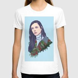 winter girl between pine cones and needles T-shirt