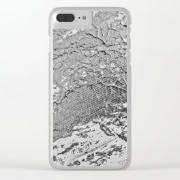 SLICK   Silver monochrome abstract acrylic art by Natalie Burnett Art Clear iPhone Case