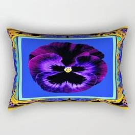 Black & Purple Pansy Abstract Blue and Gold Patterns Rectangular Pillow