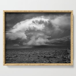Take a Deep Breath - Storm Cloud Explodes on Horizon in Oklahoma Panhandle in Black and White Serving Tray