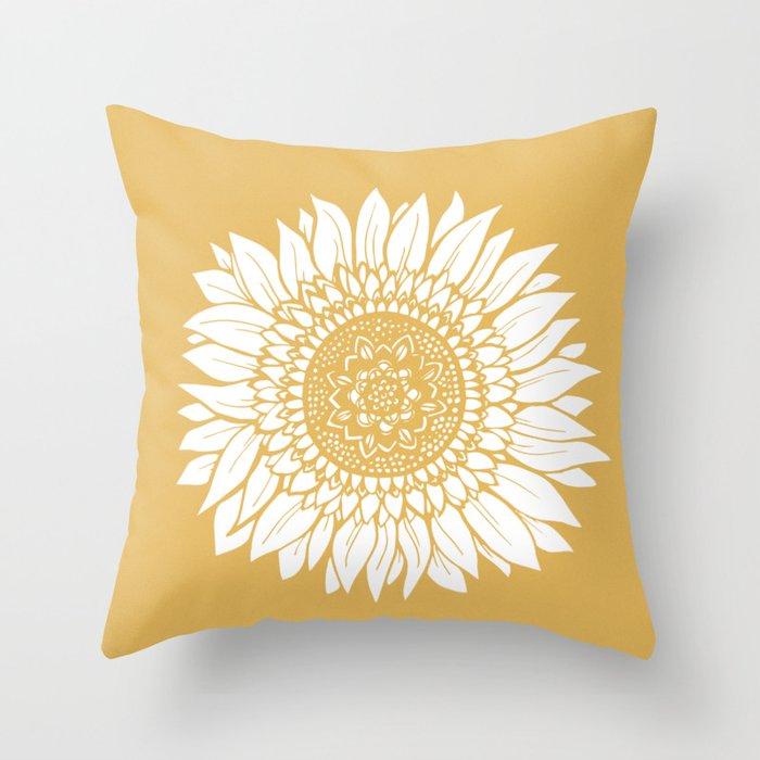 Yellow Sunflower Drawing Throw Pillow