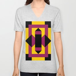 Two purple prisms with black bases coming from a rectangle, which is a table. Yellow pavement. Unisex V-Neck