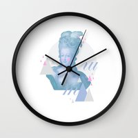 marie antoinette Wall Clocks featuring Marie Antoinette by Cut and Paste Lady