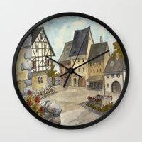 german Wall Clocks featuring German Village by rob carey