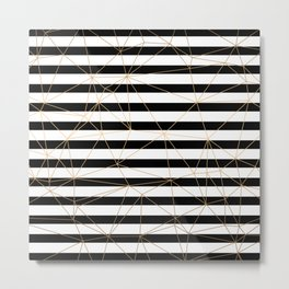 Gold Geometric Pattern Black and White Stripes Metal Print