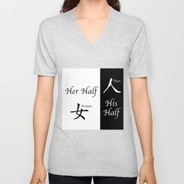 Her And His Half Unisex V-Neck