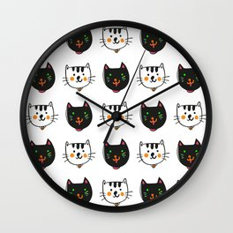 smiling cats black and white minimal design Wall Clock